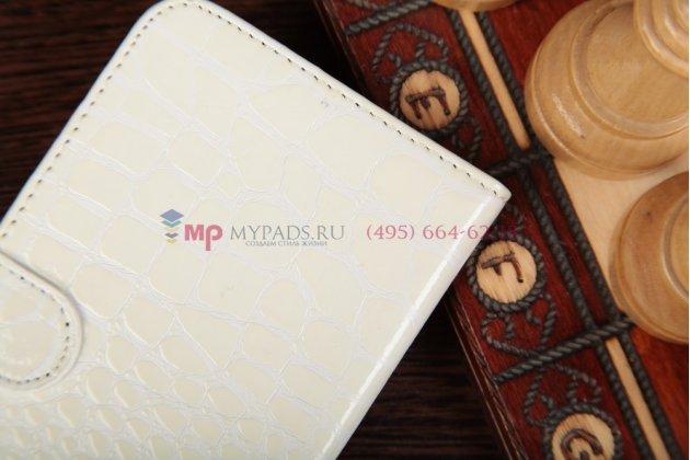 Фирменный чехол-книжка для Samsung Galaxy Mega 5.8 GT-i9150/i9152 лаковая кожа крокодила молочный белый