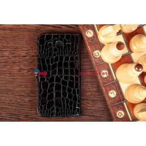 Фирменный чехол-книжка для Samsung Galaxy Mega 5.8 GT-i9150/i9152 кожа крокодила брутальный черный