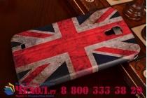 """Фирменный чехол-книжка с рисунком на тему """"Ретро Британский флаг"""" на Samsung Galaxy Mega 6.3 GT-i9200 с окошком для звонков"""