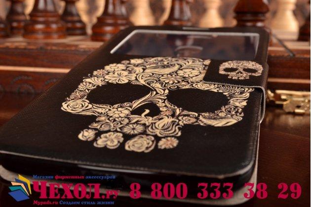 Фирменный чехол-книжка с безумно красивым расписным рисунком черепа на Samsung Galaxy Mega 6.3 GT-i9200 с окошком для звонков