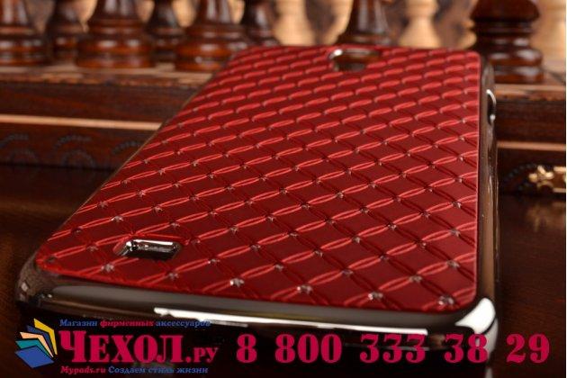 Фирменная роскошная задняя-панель-накладка декорированная кристалликами на Samsung Galaxy Mega 6.3 GT-i9200 красная