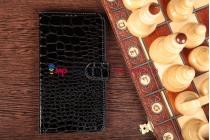Фирменный чехол-книжка для Samsung Galaxy Mega 6.3 GT-i9200/i9205 кожа крокодила брутальный черный