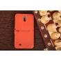 Чехол-книжка для Samsung Galaxy Mega 6.3 GT-i9200/i9205 оранжевый кожаный