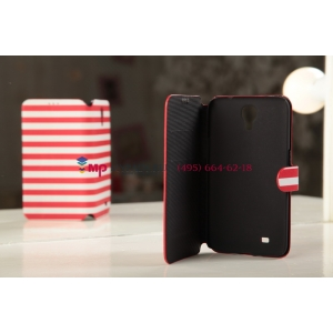 """Чехол-книжка для Samsung Galaxy Mega 6.3 GT-i9200/i9205 """"в полоску"""" красный кожаный"""