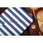 """Чехол-книжка для Samsung Galaxy Mega 6.3 GT-i9200/i9205 """"в полоску"""" синий кожаный"""