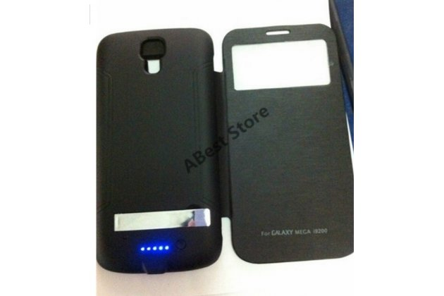 Чехол-бампер со встроенным усиленным аккумулятором большой ёмкости 4500mAh для Samsung Galaxy Mega 6.3 GT-i9200/i9205 черный + гарантия