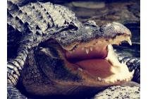 Фирменный роскошный эксклюзивный чехол с объёмным 3D изображением кожи крокодила коричневый для Samsung Galaxy Mega 6.3 GT-i9200 . Только в нашем магазине. Количество ограничено