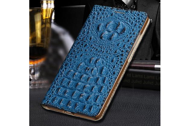 Фирменный роскошный эксклюзивный чехол с объёмным 3D изображением рельефа кожи крокодила синий для Samsung Galaxy Mega 6.3 GT-i9200. Только в нашем магазине. Количество ограничено