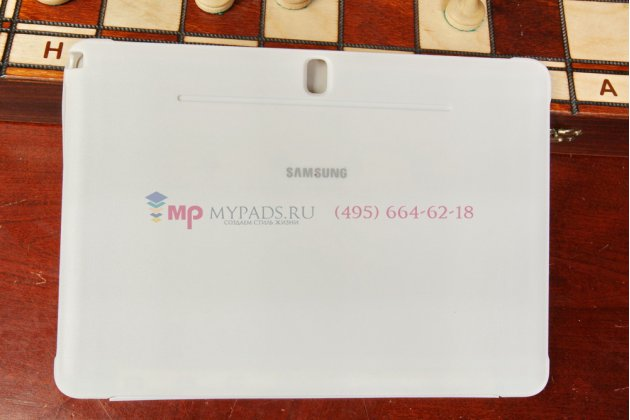 "Чехол с логотипом для Samsung Galaxy Note 10.1 2014 edition SM-P6000/P6010/P6050 с дизайном ""Book Cover"" белый"