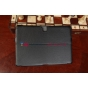 """Фирменный чехол для Samsung Galaxy Note 10.1 2014 edition SM-P6000/P6010/P6050 черный натуральная кожа """"Deluxe"""" Италия"""