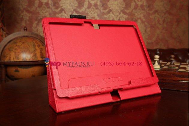 Фирменный чехол-книга для Samsung Galaxy Note 10.1 2014 edition SM-P6000/P6010/P6050 красный кожаный