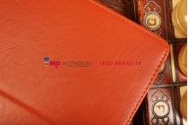 """Фирменный чехол-обложка для Samsung Galaxy Note 10.1 2014 edition с визитницей и держателем для руки оранжевый натуральная кожа """"Prestige"""" Италия"""