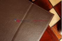 Фирменный чехол-обложка для Samsung Galaxy Note 10.1 2014 edition SM-P600/P601/P605 коричневый кожаный