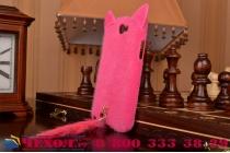 """Меховой пушистый чехол-панель для Samsung Galaxy Note 2 розовый """"пушистик"""""""