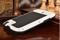 Неубиваемый водостойкий противоударный водонепроницаемый грязестойкий влагозащитный ударопрочный фирменный чехол-бампер для Samsung Galaxy Note 2 GT-N7100/N7105 цельно-металлический белый со стеклом Gorilla Glass