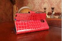 Фирменный чехол-книжка для Samsung Galaxy Note 3 SM-N900/N9005 лаковая кожа крокодила алый огненный красный