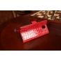 Фирменный чехол-книжка для Samsung Galaxy Note 3 SM-N900/N9005 лаковая кожа крокодила алый огненный красный..