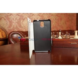 Чехол-книжка для Samsung Galaxy Note 3 SM-N900/N9005 с окошком черный кожаный