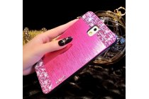 Фирменная металлическая задняя панель-крышка-накладка из облегченного авиационного алюминия украшенная стразами и кристалликами для Samsung Galaxy Note 3 розовая
