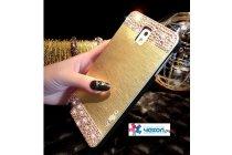 Фирменная металлическая задняя панель-крышка-накладка из облегченного авиационного алюминия украшенная стразами и кристалликами для Samsung Galaxy Note 3 золотая