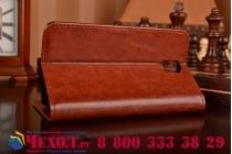 Фирменный чехол-книжка из качественной импортной кожи с мульти-подставкой застёжкой и визитницей для Самсунг Галакси Гелекси Нот 3 коричневый