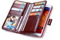 Фирменный чехол-кошелек из качественной импортной кожи с подставкой застёжкой и визитницей для Самсунг Галакси Гелекси Нот 3 коричневый