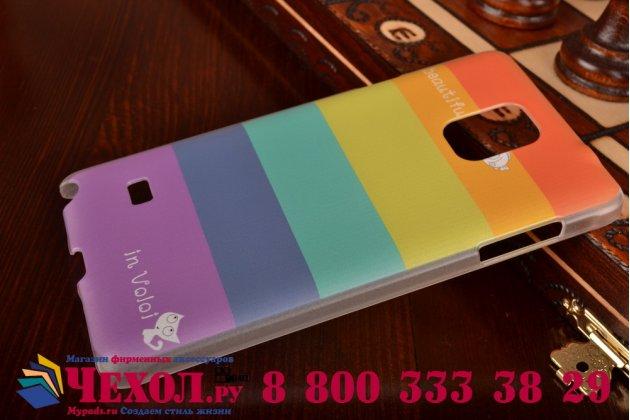 """Фирменная необычная из легчайшего и тончайшего пластика задняя панель-чехол-накладка для Samsung Galaxy Note 4 """"тематика Все цвета Радуги"""""""