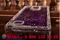 Фирменная роскошная элитная пластиковая задняя панель-накладка украшенная стразами кристалликами со втроенным АКВАРИУМОМ для Samsung Galaxy Note 4 фиолетовая