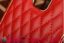 Фирменная роскошная элитная задняя панель-крышка на металлической основе обтянутая импортной кожей прошитой стёганым узором для Samsung Galaxy Note 4 королевский красный