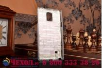 Фирменная роскошная элитная пластиковая задняя панель-накладка украшенная стразами кристалликами и декорированная элементами для Samsung Galaxy Note 4 малиновая