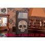 Фирменный чехол-книжка с безумно красивым расписным рисунком черепа на Samsung Galaxy Note 4 с окошком для зво..
