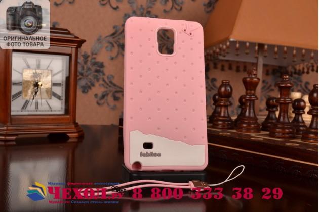 """Фирменная необычная уникальная полимерная мягкая задняя панель-чехол-накладка для Samsung Galaxy Note 4 """"тематика Андроид в клубничном шоколаде"""""""
