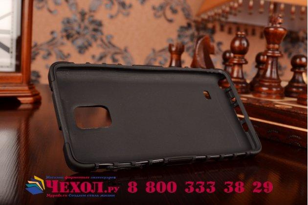 Противоударный усиленный ударопрочный фирменный чехол-бампер-пенал для Samsung Galaxy Note 4 черный