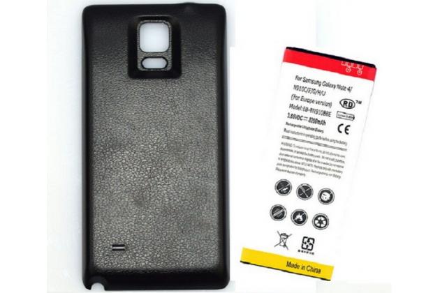 Усиленная батарея-аккумулятор большой повышенной ёмкости 8200mah для телефона Samsung Galaxy Note 4 SM-N910C/F+ задняя крышка черная+ гарантия