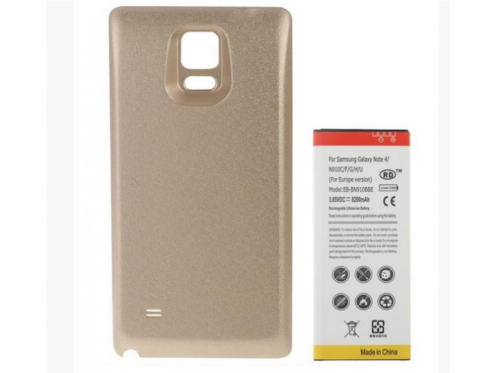 Усиленная батарея-аккумулятор большой повышенной ёмкости 8200mah для телефона Samsung Galaxy Note 4 SM-N910C/F..