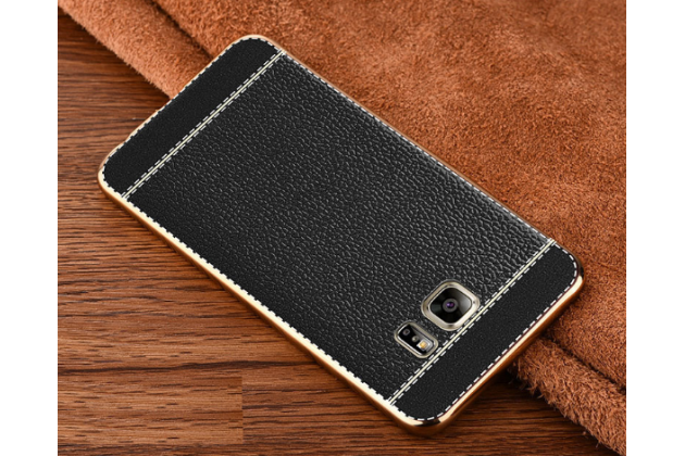 Фирменная премиальная элитная крышка-накладка на Galaxy Note 5 черная из качественного силикона с дизайном под кожу