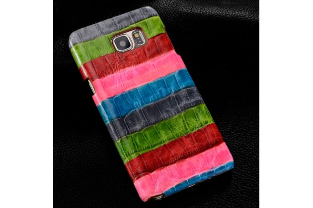 """Фирменная неповторимая экзотическая панель-крышка обтянутая кожей крокодила с фактурным тиснением для Samsung Galaxy Note 5 SM-N920 тематика """"Тропический Коктейль"""". Только в нашем магазине. Количество ограничено."""