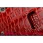 Фирменный чехол-книжка с подставкой для Samsung Galaxy Note 5 лаковая кожа крокодила алый огненный красный..