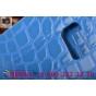 Фирменный чехол-книжка с подставкой для Samsung Galaxy Note 5 лаковая кожа крокодила цвет морской волны бирюзо..
