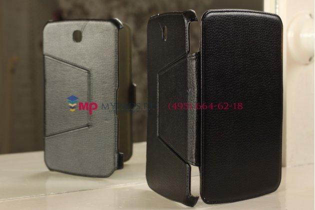 """Фирменный чехол для Samsung Galaxy Note 8.0 N5100/N5110 с мульти-подставкой и держателем для руки черный кожаный """"Deluxe"""" Италия"""