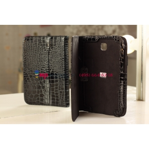Лаковая блестящая кожа под крокодила фирменный чехол-футляр для Samsung Galaxy Note 8.0 N5100/N5110 брутальный черный