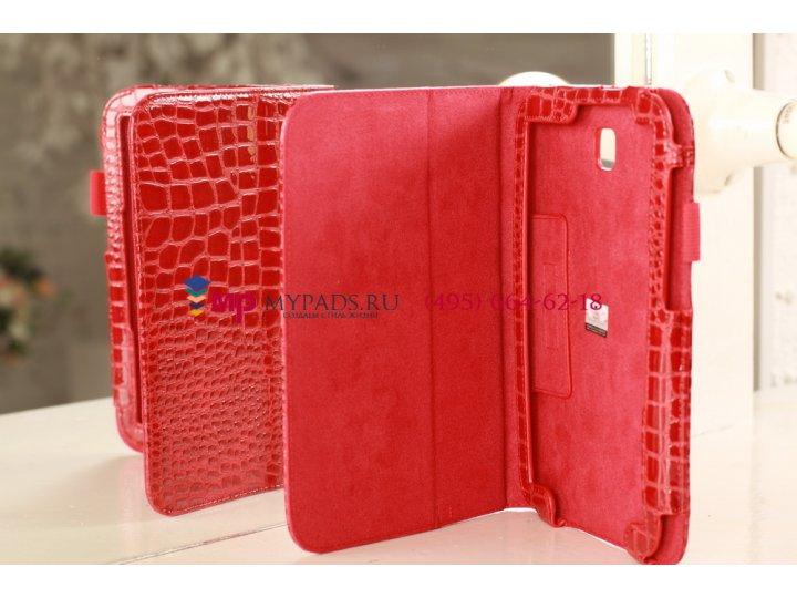Фирменный чехол для Samsung Galaxy Note 8.0 N5100/N5110 лаковая кожа крокодила алый огненный красный..