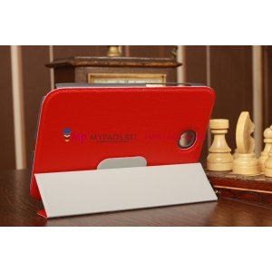 Ультра-тонкий легкий чехол-футляр для Samsung Galaxy Note 8.0 N5100/N5110 SLIM красный кожаный