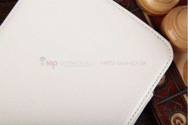 """Фирменный чехол для Samsung Galaxy Note 8.0 N5100/N5110/N5120 с мульти-подставкой и держателем для руки белый кожаный """"Deluxe"""" Италия"""