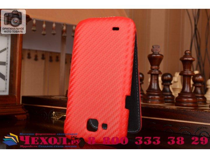 Фирменный вертикальный откидной чехол-флип для Samsung Galaxy Premier GT-i9260 красный кожаный..