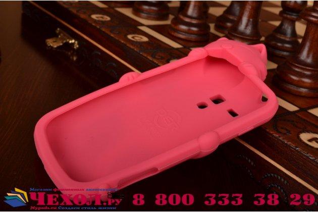 """Фирменная задняя панель-чехол-накладка с объёмным 3D изображением для Samsung Galaxy S Duos GT-S7562 """"тематика веселая Кошка"""" розовая"""