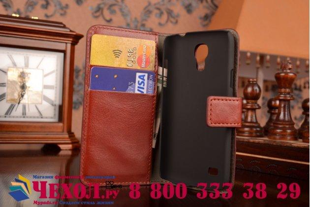 Фирменный чехол-книжка из качественной импортной кожи с мульти-подставкой застёжкой и визитницей для Самсунг Галакси Гелекси S 4 мини коричневый