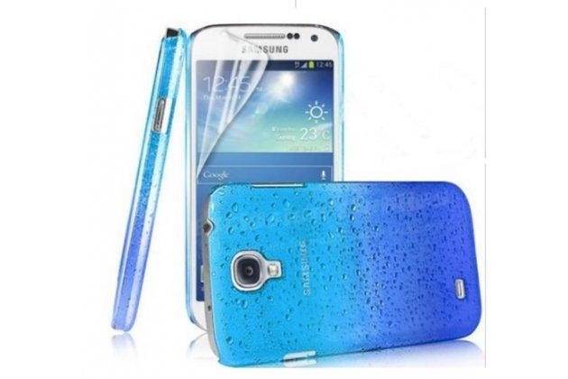 Фирменная из тонкого и лёгкого пластика задняя панель-чехол-накладка для Samsung Galaxy S4 Mini GT-I9190/Duos GT-I9192 прозрачная с эффектом дождя