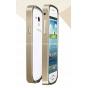Фирменный оригинальный ультра-тонкий чехол-бампер для Samsung Galaxy S Duos GT-S7562 золотой металлический..