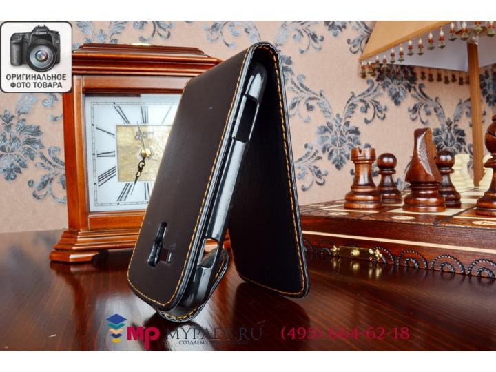 Фирменный вертикальный откидной чехол-флип для Samsung Galaxy S Duos GT-S7562 черный кожаный..